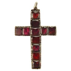 Georgian Flat Topped Garnet and Silver Cross Pendant