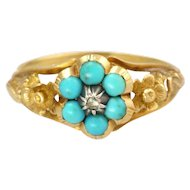 Victorian 9K Gold Turquoise and Diamond Flower Ring