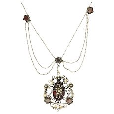 Arts and Crafts Silver and Garnet Festoon Necklace - Red Tag Sale Item