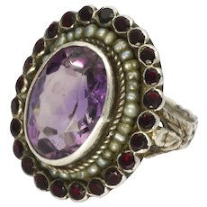 Arts and Crafts Silver Amethyst Seed Pearl and Garnet Pastes Ring
