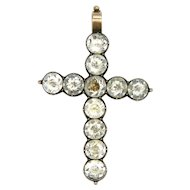 Victorian Sterling Silver and Paste Cross Pendant - 9k Bail