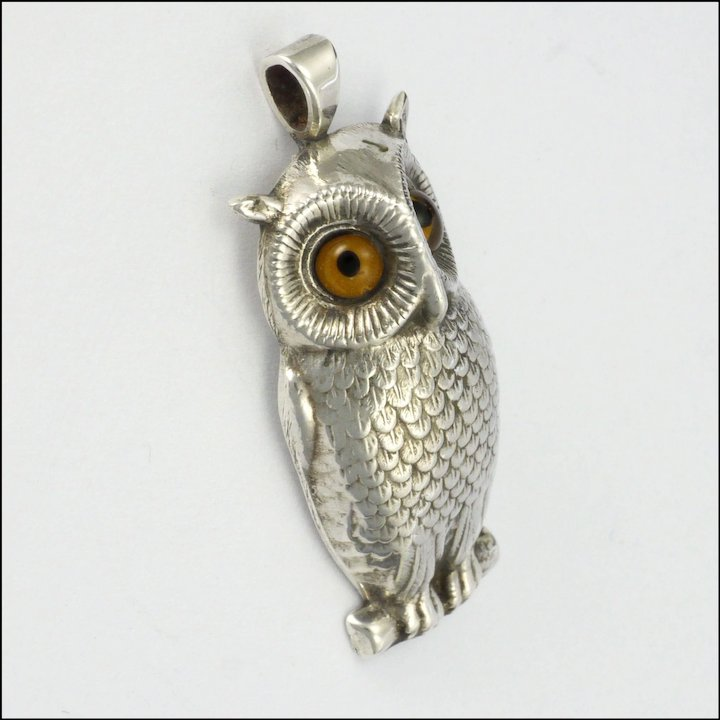 Victorian sterling silver owl pendant glass eyes sold ruby lane victorian sterling silver owl pendant glass eyes mozeypictures Image collections