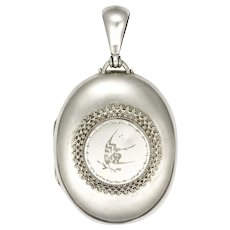 Victorian Sterling Silver Raised Engraved Bird Motif Locket