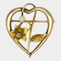 Art Nouveau 15K Gold Diamond and Pearl Heart Pin