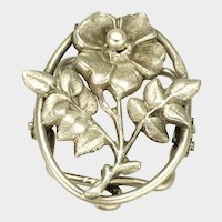 French Art Nouveau Silver Flower Clip