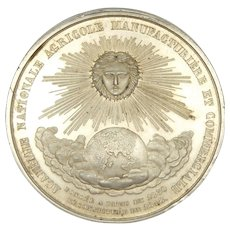 French Large  19C Silvered Copper Sun Medal - Red Tag Sale Item