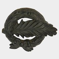 Victorian Pressed Horn Wreath & Feather Pin - Registered 1880