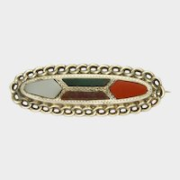 Victorian Scottish Agate on Sterling Silver PIn