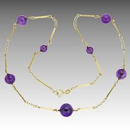 """Vintage 14K Gold and Amethyst Bead Necklace - 17½"""""""