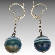 French Art Deco Silver Agate Ball Drops - Pierced Ears