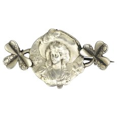 French Art Nouveau Silver Lady and Clovers Watch PIn - E DROPSY