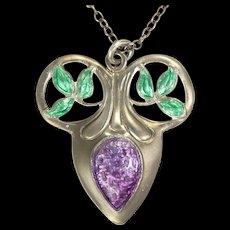 English 1908 Arts & Crafts Silver Enamel Necklace