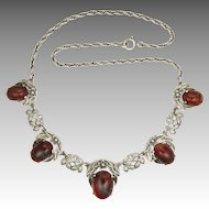 English Arts and Crafts Silver and Agate Necklace -BERNARD INSTONE