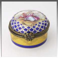Porcelain Courting Couple Trinket Box - French Import by Orchid Designs