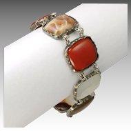 "Victorian Scottish Agate on Silver Metal Bracelet -  7¾"""