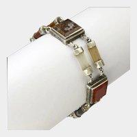"Victorian Scottish Agate Sterling Silver Bracelet - 7"""