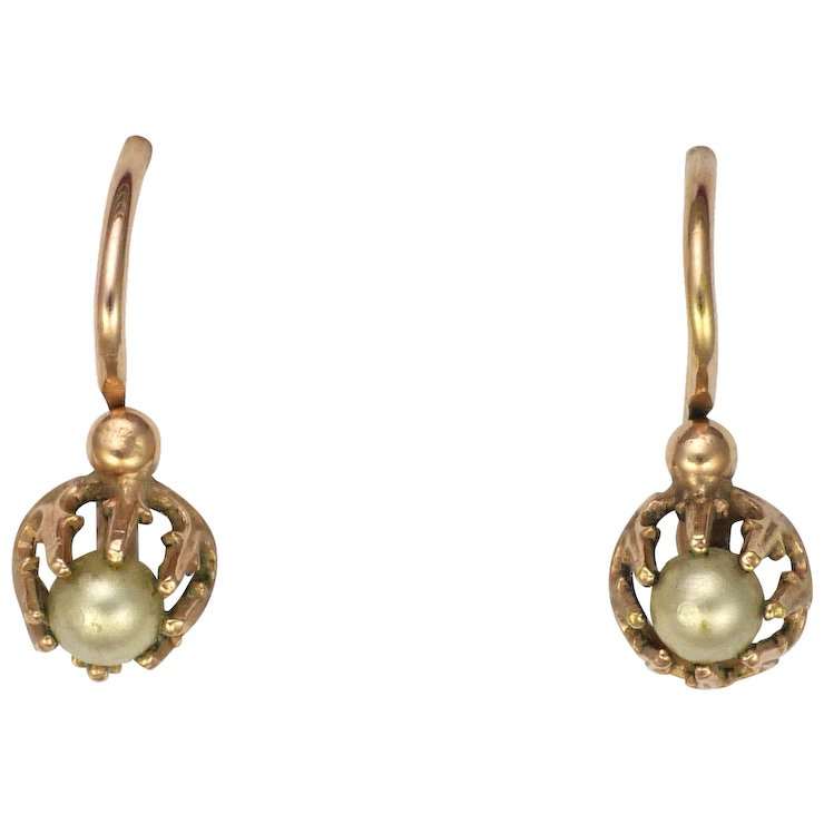 French Antique Gold Filled Seed Pearl Earrings Oria