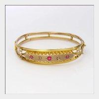 English 1905 9 Carat Gold Ruby Pastes and Diamonds Bangle Boxed