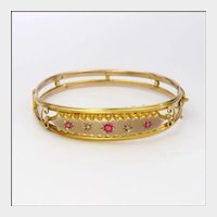 English 1905 9 Carat Gold Ruby Pastes and Diamonds Bangle Boxed
