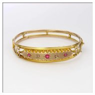 English 1905 9 Carat Gold Ruby Pastes & Diamonds Bangle Boxed