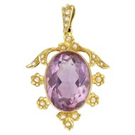 English Edwardian 15K Gold Amethyst and Seed Pearl Pendant