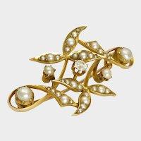 English Art Nouveau 15K Gold Pearls and Diamond Pin