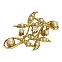 English Art Nouveau 15K Gold Pearls and Diamond Pin