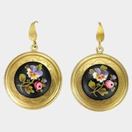 Victorian Large Silver Gilt Painted Ceramic Earrings - Pierced Ears
