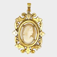 French 18K Gold Filled Cameo Pendant - ORIA