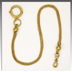 French Antique Gold Plated Woven Watch Chain