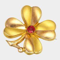 French Gold Plated and Paste Flower Pin
