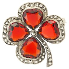 European Silver Marcasite and Paste Clover pin