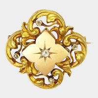 French Antique 18K Gold and Diamond Pin
