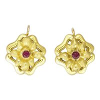 Antique Art Nouveau 18K Gold and Ruby Flower Earrings - Pierced Ears