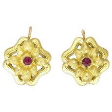 ad6b4d507ed1b Antique Art Nouveau 18K Gold and Ruby Flower Earrings - Pierced Ears