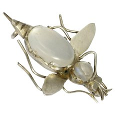 Victorian European Silver Moonstone Bug Pin