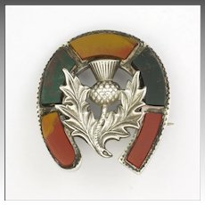 Scottish Victorian Agate Lucky Horseshoe and Thistle Silver Pin