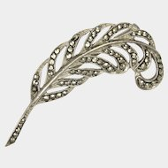 French Silver and Marcasite Feather Pin