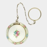 Art Deco Sterling Silver and Enamel Roses Compact