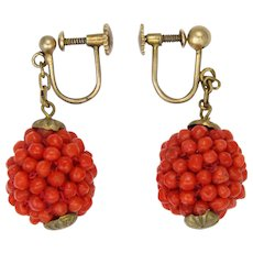 Antique 835 Silver Gilt and Genuine Coral Drop Screw Back Earrings - Red Tag Sale Item