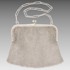 Art Deco Sterling Silver Mesh Purse - English Import
