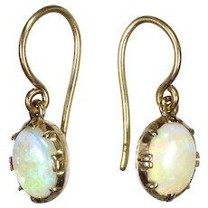 Edwardian 9K Gold and Opal Earrings - Hooks for Pierced Ears