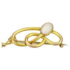Art Nouveau English  1905 9K Gold Opal Pin - CHARLES HORNER