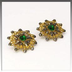 Victorian Cut Steel and Paste Clip Earrings