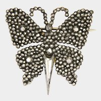 Early Victorian Cut Steel Butterfly Pin