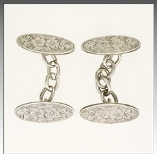 Victorian English Sterling Silver Engraved Cufflinks - 1898