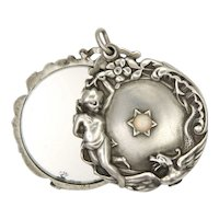 French Art Nouveau Silver and Opal Mirror Slide Pendant