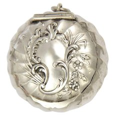 French Antique Silver Compact Box Pendant with Puff