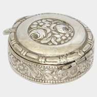 German Arts and Crafts Silver Pill Box Pendant