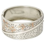 Victorian Sterling Silver Gold Tipped Flowers Bangle